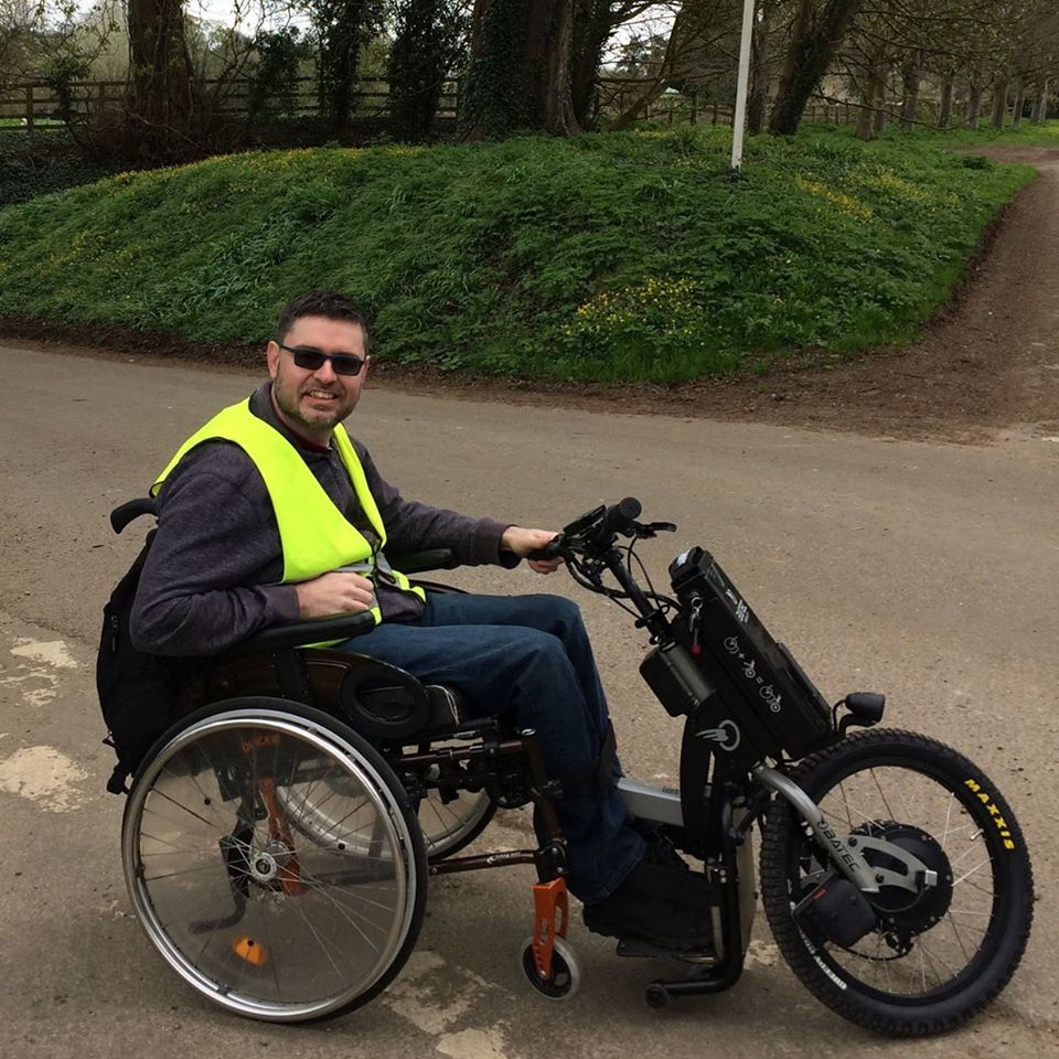 Richard and his trike, marshalling a charity cycle ride - 2017