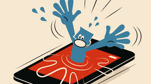 a blue cartoon person is drowning in a smart phone