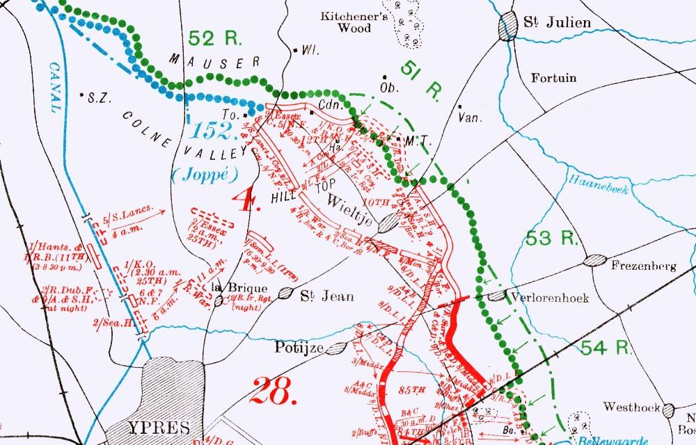 map showing position of troops near Ypres in May 1915