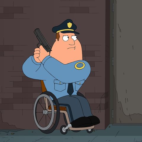 Cartoon drawing of a police officer in a wheelchair. He is holding a gun and looks ready to  use it.